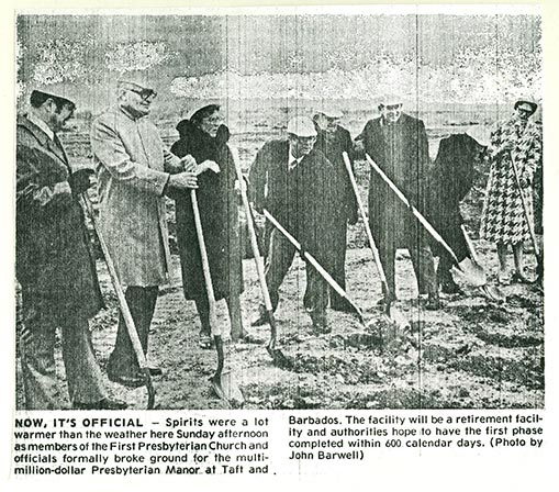 Historical photo ground breaking for Manor